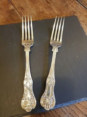 Pair Of Queens Pattern Silver Plated Large Dinner Forks. Superb Quality