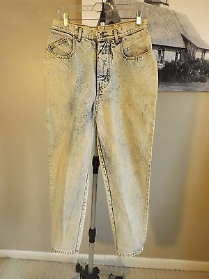 Vintage GITANO High Waist Tapered Relaxed Mom Bleach Acid Jeans Sz 14 W 29 L 30