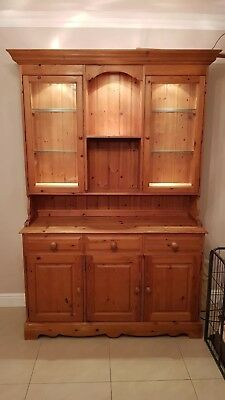 Solid pine dresser side board antique wax finish with display lights