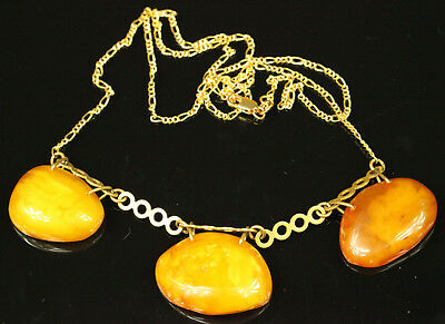 Natural OLD Antique 14.1g Butterscotch Egg Yolk Baltic Amber Stone Necklace B408
