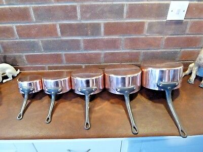 Vintage French Copper Pan Set 5 Tin Lined  with Cast Iron Handles Weight 3.5kgs