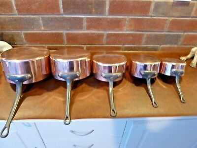 Vintage French Copper Pan Set 5 Unlined  with Cast Iron Handles Weight 3.5kgs