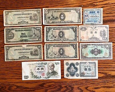 Old Japanese Government Currency and War Banknotes (Lot of 11)