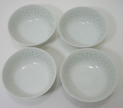 """Lot/4 Chinese Porcelain Rice Bowls with Translucent Rice Grain Pattern 4 1/2"""""""