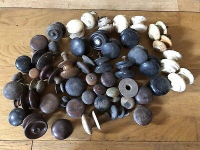 Job Lot 51 ANTIQUE & Vintage WOODEN Furniture Door KNOBS, Chest Drawer HANDLES