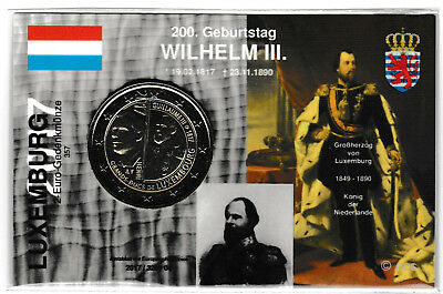 2 Euro Luxemburg 2017 Wilhelm III in MünzKarte / CoinCARD, deutscher Text