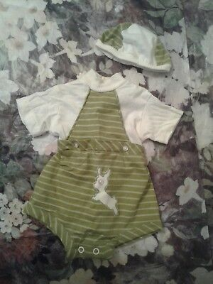 Beautiful Vintage Baby One Piece  Plastic Lining. With Bonnet/hat Sweet