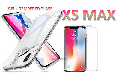 NEW iPhone XS MAX Clear Gel Case Cover And Tempered Glass Screen Guard Protector