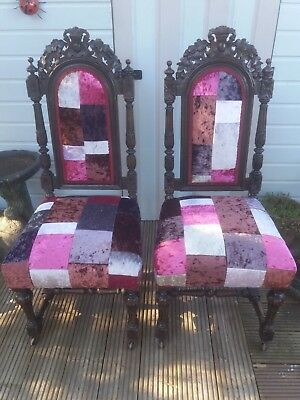 Victorian carved solid oak hall/bedroom/ chair crushed velvet patchwork fabric