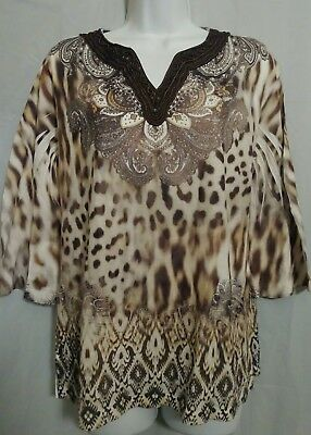 60bc701535cc CHICOS TUNIC TOP Womens 1 Leopard Animal Print Paisley Boho Gypsy ...