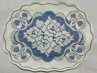 "2 Ivory Lace over Blue Victorian Rose14"" x 19 oval Place Mats/Accents"