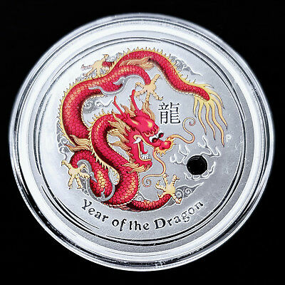 2 oz Silber Lunar II 2012 Drache Dragon - farbe/color - ROT RED - $2 AUD