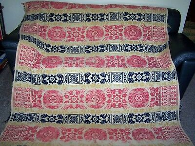 Vintage Loom Woven Hand Made Coverlet Jacquard Style Marked 1860.made