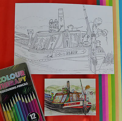 Therapy Colour Canal nb President Narrowboat  Colouring Card Gift Set Boat