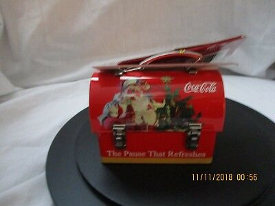 Coca Cola Tiny Tin lunch box with painted Tired Santa and Tree