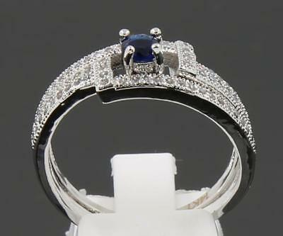 Fine Antique 1.45ct Natural Sapphire Solid 14K White Gold Amazing Rings Size 9#