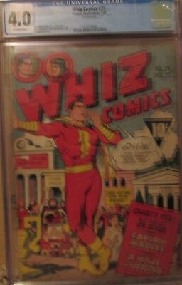 WHIZ COMICS #39 CGC 4.0 CAPTAIN MARVEL! OTTO BINDER Story! C.C. BECK Cover! 1943