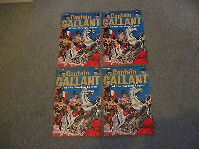 Four Copies of Captain Gallant of the Foreign Legion Comic - Buster Crabbe Cuffy