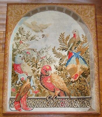 Large antique needlework of parrots and dove