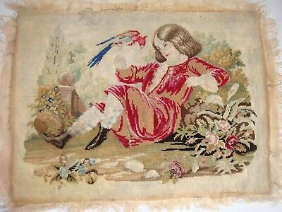 Late 18th century sampler of boy with parrot