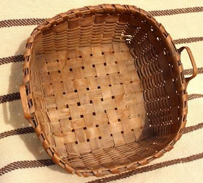 Signed Antique Native American Iroquois Indian Handled Splint Basket