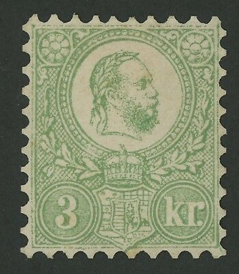 HUNGARY STAMP 1871 3kr FRANZ JOSEPH, PERF 9.5 MINT OG VF, MAGNIFICENT!