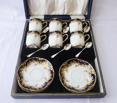 Antique HAVILAND Gilded Limoges Boxed Coffee Set, + Sterling Silver Spoons