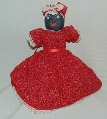 Black Americana Sock Doll Hand Made Dress Petticoat Knickers Hat Vintage
