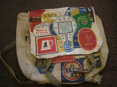 Unique Vintage Folk Art Hand Painted Army Bag with Brewery Advertising