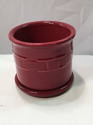 Longaberger Pottery Red Candle Holder with Lid