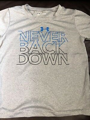 "Boys Under Armour Gray ""Never Back Down"" T-shirt 3T"