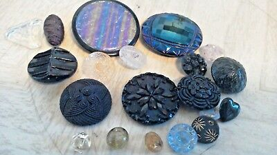 VINTAGE ANTIQUE LOT COLLECTIBLE BUTTONS all glass mostly BLACK GLASS in old tin