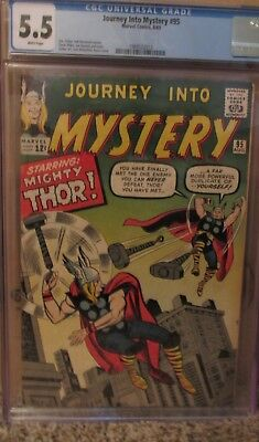 JOURNEY into MYSTERY #95, CGC 5.5, STAN LEE Stories! THOR VS THOR! 1963