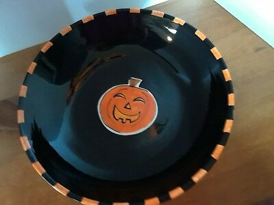"MARY ENGELBREIT LARGE 12.5"" Halloween PUMPKIN BOWL hand painted , made in USA"