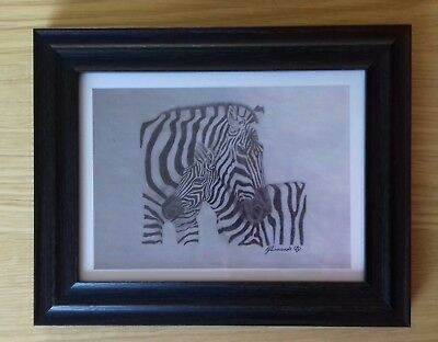 ZEBRA & FOAL love gift picture A5 print of Original Art Drawing WILD ANIMAL