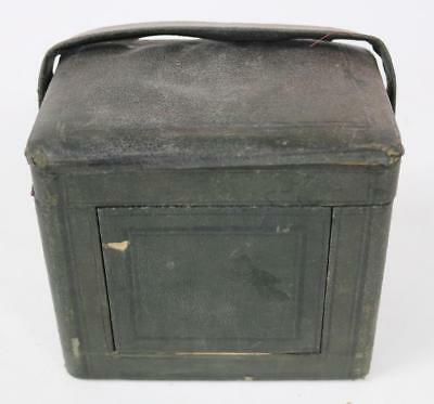 19THC Antique French Rectangle Green Carriage Clock Outer Protection Carry Case