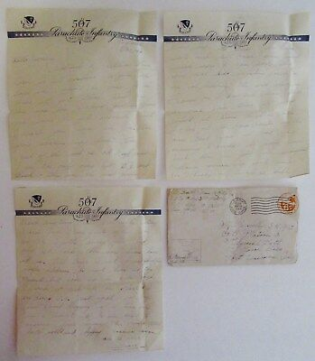 1944 WWII Letter - 507th PARACHUTE INFANTRY on Stationery & Env. - D-Day Mention