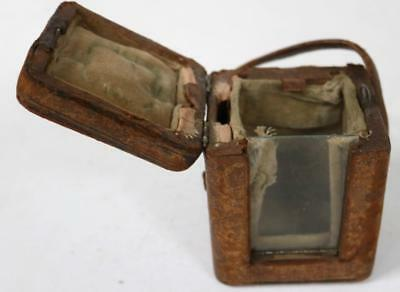 19TH Antique French Miniature Leather Carriage Clock Outer Protection Carry Case
