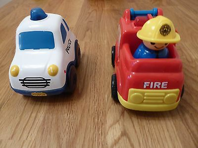 Police Car and Fire Engine vehicle toys with noise