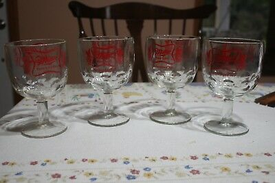 4 Miller High Life Goblets/Chalices; Thumbprint glass;  Think Christmas!