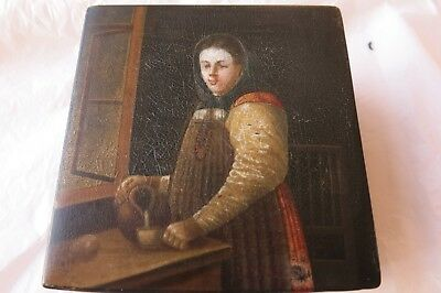 Russian Lacquer hand painted tea caddy Vishniakov and Sons - peasant girl