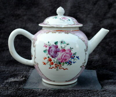 18Th Century Chinese Hand Painted Famille Rose Teapot Hand Painted Flowers