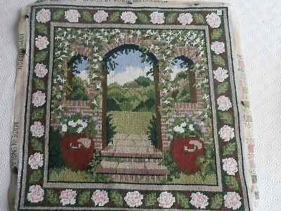 Vintage Ehrman Walled Garden Tapestry Cushion Picture Completed Rare