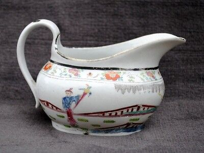 18Th Century Rare New Hall Milk Jug Pattern 1040 Chinese Scene Man & Parrot
