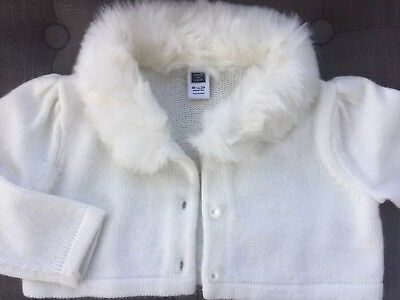 Janie and Jack Cropped Cardigan White Faux Fur Collar Baby Girl 18-24 months