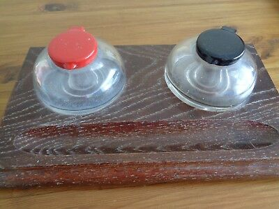 double ink glass pots on wooden tray vintage