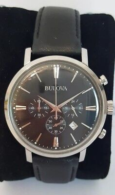 Bulova Classic 96B262 Men's 41mm Aero Jet Quartz Chronograph Black Dial Watch