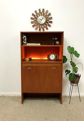 70s original G Plan vintage retro  Mid Century bookcase display unit with light