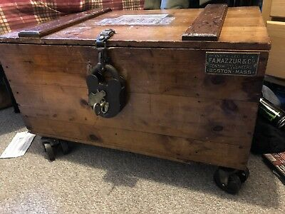Antique Shipping Travel Trunk Chest Cast Iron Wheels And Lock Original