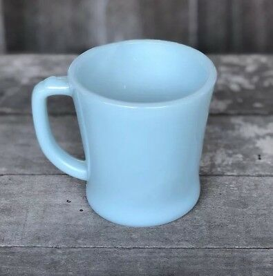Vintage Anchor Hocking Fire King D Handle Delphine Turquoise  Azurite Blue Mug